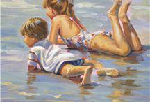 Art: Lucelle Raad art of children on beach