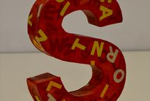 Painted letters / Cardboard letters painted with acrylic
