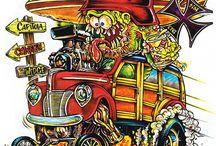 Speed&co. : RATRODZ, 60s Kustom Kulture, Ed Roth, George Barris, BAD-YEAR ... / skúmam tému NALOŽENOSŤI vo sfére Kustom automobilov a v k nim pridružených žánroch umenia