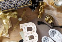 Bold & Gold / Going glam has never been easier with metallic accents for your home and the wardrobe. Geometric, bold graphics are highlighted with slick gilt overlays; and pretty filigree work adds a touch of old world glamour!