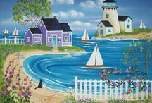 Malarstwo - morze, latarnie morskie