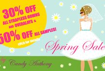 Promotions / Candy Anthony most exciting ever SALE! It's Spring, let's celebrate it with our most exciting ever SALE!!! We are currently offering a 30% OFF all strapless gowns and overlays in polkadots, lace and tulle! In addition to this, we have also replenished our SAMPLE RANGE, featuring some amazing bridal, evening and bridesmaids special gowns, all in stock and reduced at 50% from the original price. HURRY UP, OFFER ENDS ON 21ST MAY 2016!!!