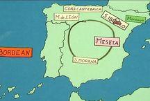 Relieve España y Península Ibérica / Vídeos, mapas, juegos y actividades para el trabajo del relieve.