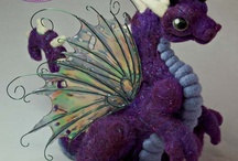 Dragon Flutters by Nina Bolen / One-of-a-kind needle felted soft sculpture dragons with fairy wings.
