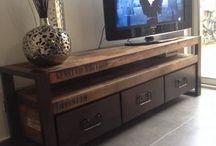 TV meuble bois et fer