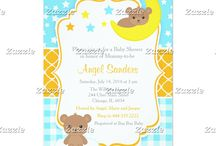 Cute Boy Bear Baby Shower in Blue and Orange / This collection features a cute baby bear on a cloud and a bear on the moon. The background consists of blue stars, blue gingham and a orange quatrefoil ribbon.