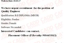 walkin interview in BE /DIPLOMA(MECH)  interesting candidate apply for this job