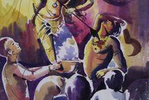 drawing durga puja celebration
