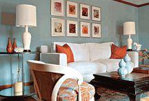 Orange blue theme living room