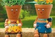 créer personnages avec pots de fleurs