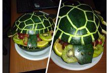 KLEESAM edibles /  Fruit , vege and pastry arrangement