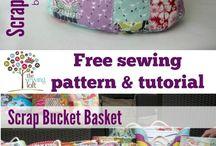 Bucket baskets with scrap fabric