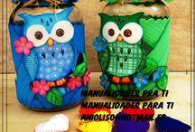 frascos decorados con goma eva