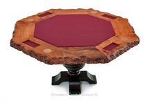 Game & Pool Tables / Custom made game, poker and card tables from live edge slabs in rustic to modern designs.