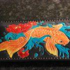 Koi Fish veg tan leather Phone case