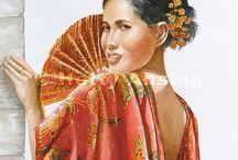 Bali / Balinese impressies, aquarel fijnschilderkunst van de hand van Hetty Ansing
