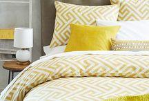Bedroom / gray & mustard - new duvet, pillows, rug