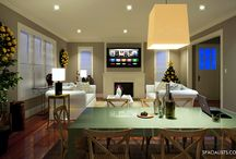 Holiday Season Interior, 3D rendering / This is an interior project we recently completed inspired by the festive Holiday season. A combination of colors mixture of old and new furniture gives the space a rich look. www.spacialists.com #3D, #3Drendering, #3DUSA, #Interior3DRendering