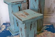 wood pillar distressed candle holders