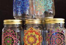 Potes vidro decorados