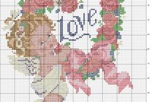 baby angel with flowers heart - free cross stitch patterns