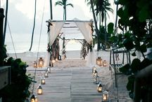 beach wedding party