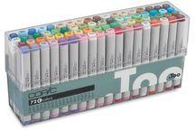 Penselen, stiften, pennen, inkt, verf