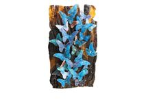 Monaarch Butterfiles, פרפרי מונרך / Bullseye frits and powders, casting Pate De Verre אבקות זכוכית בולזאיי,יציקה פטה דה וור