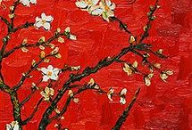 Red Art / Vincent van Gogh - From 'Almond Blossoms' Series (1888-1890). One of my favorite artist in my favorite color.