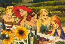 Women and Wine / Art series by Kathy Womack -  Originals and Limited Edition Prints on Canvas