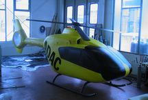 """Eurocopter / A 1:1 scaled ultra lightweight radio controlled Eurocopter. The model flies indoors and coupled with a realistic soundtrack, it is often used as an impressive trick to create an impression that  the """"star of the show"""" or CEO actually flies over the heads of the audience to land on stage and disembark from the helicopter."""