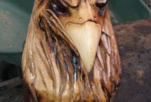 Wooden Eagle Carvings