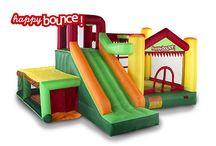 Pomppulinnat / Lapset rakastavat pomppulinnoja!  Pomppulinnassa kavereiden kanssa leikkiminen on hauskaa tekemistä lapsille ja lapset viihtyvätkin pomppulinnassa tunteja!  Happy Bounce pomppulinnat ovat laadukkaita ja kestäviä pomppulinnoja jotka voi sijoittaa pihalle tai sisätiloihin!  Hanki lapsille hauskaa tekemistä!