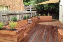 Planter boxes with seats