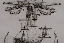 Пираты(Pirates ) / Пираты.Пиратские корабли.Черепа.Веселый Роджер.Капитан.Ром.Девушки.