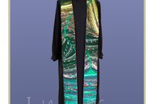 """Janet's Extraordinary Liturgical Stoles for Ordinary Times / I made these stoles on commission for clients who specifically requested green stoles for """"Ordinary Times"""".  They're made primarily from my favourite fabrics--neckties--often supplied by the clients or from my huge stash."""