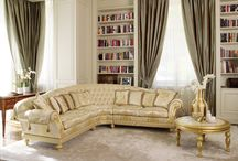 Carved upholstered sofa