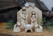 keramický betlém a Vánoce