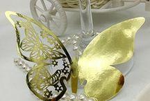 carte de verre,porte noms,marue place papillon dore decoration table mariage