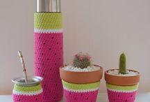 cubre maceta cubre termo crochet