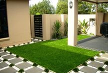 Beautiful lawn with artificial grass