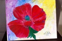 Acrylic painting poppy / Acrylic poppy canvas