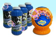 Dog Bubble Toys ♣ ActiveDogToys / We are proud to say that here at ActiveDogToys we have the largest selection of dog bubbles and dog bubble toys out of any other retailer! In fact, we think dogs and bubbles are such a great combination that we decided to manufacturer our own line of dog bubble products: Bubbletastic. The Bubbletastic bacon bubble machine blows out a windstorm of bacon bubbles for your dog to enjoy and Bubbletastic bacon bubble refills are perfect for refilling any dog bubble machine or dog bubble blower