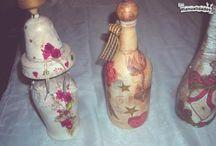 Decoupage en botellas de vidrio. / Decoupage en botellas de vidrio. Imágenes relacionadas.