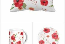 Field Wildflowers / Beautiful red wildflowers pattern.
