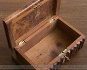 LARGE Vintage Handmade Magic Secret Puzzle Wooden Box with Hidden Key