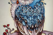 Owls / Owls, painting, drawing, mixed media
