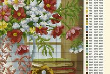 cross stitch people, flowers...
