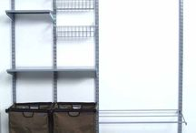 1750 / 66 In. L x 63 In. H Garment Wall Mount Storage System with (2) Shop/Rag Bags, Boot Rack, (2) Wire Shelves, (2) Wire Baskets, (2) Steel Shelves & Hardware