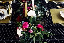 Magenta at Midnight / A dark and moody palette enlivened with a pop of Pink Yarrow, one of Pantone's colours of the year. Black on black texture with touches of gold feature here - add a hint of velvet for a luxe wintry twist!